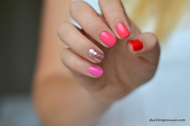 Red to Pink Ombre Manicure Nails Glitter Accent OPI