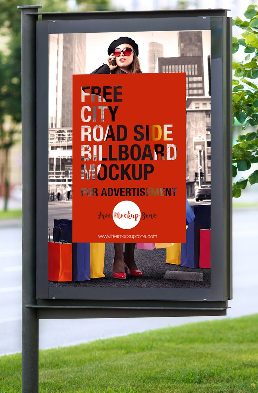 Free City Road Side Billboard Mockup For Advertisement Free Mockup Zone Billboard Mockup Free City Billboard