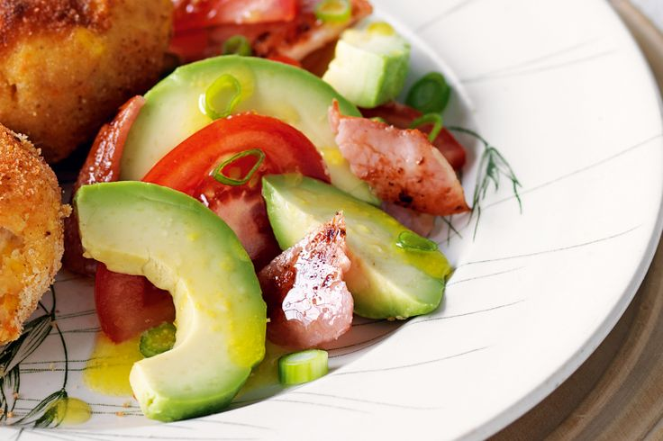 Smoky bacon and creamy avocado are a heavenly match in this easy Spring salad side.