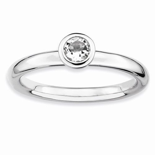 Sterling Silver Stackable Expressions Low 4mm Round White Topaz Ring