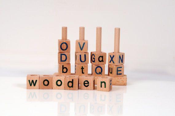 Alphabet Blocks  Wooden Alphabet Blocks  Wooden Toy by beigebois, €22.00