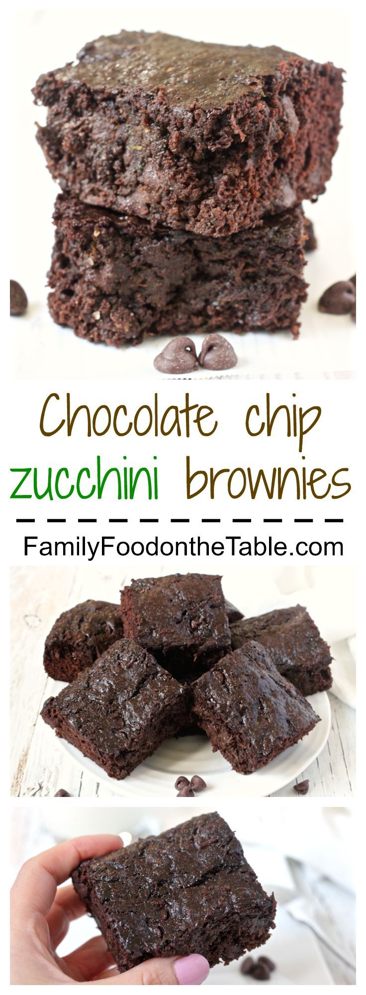 Chocolate chip zucchini brownies - decadent, delicious and secretly healthy! | http://FamilyFoodontheTable.com