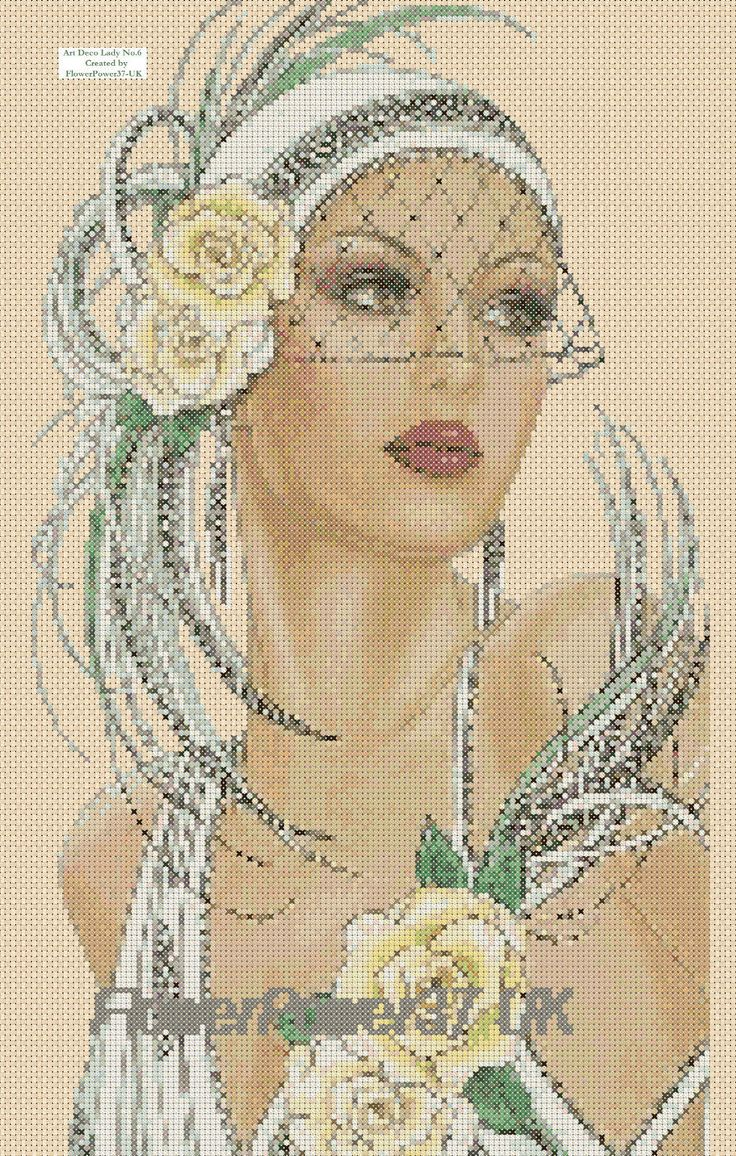 Cross stitch chart Art Deco Lady 6 Flowerpower37-uk.-.free uk P&p | eBay