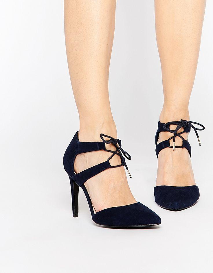 Изображение 1 из Синие замшевые туфли-лодочки с завязками спереди Faith Fisker