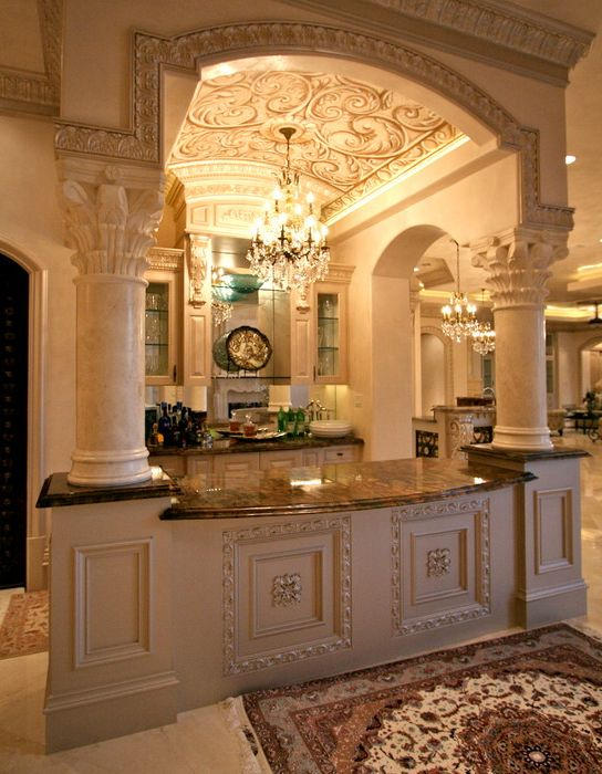 Beautiful kitchen bar with barrel ceiling inside the for Luxury home kitchen designs
