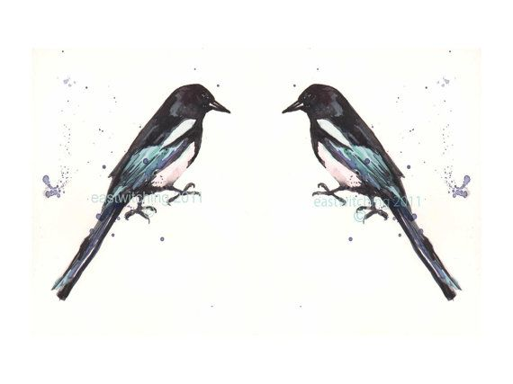 Two for joy! > Birds Watercolor MAGPIES  Pair of Prints  8x10 by eastwitching, $29.00