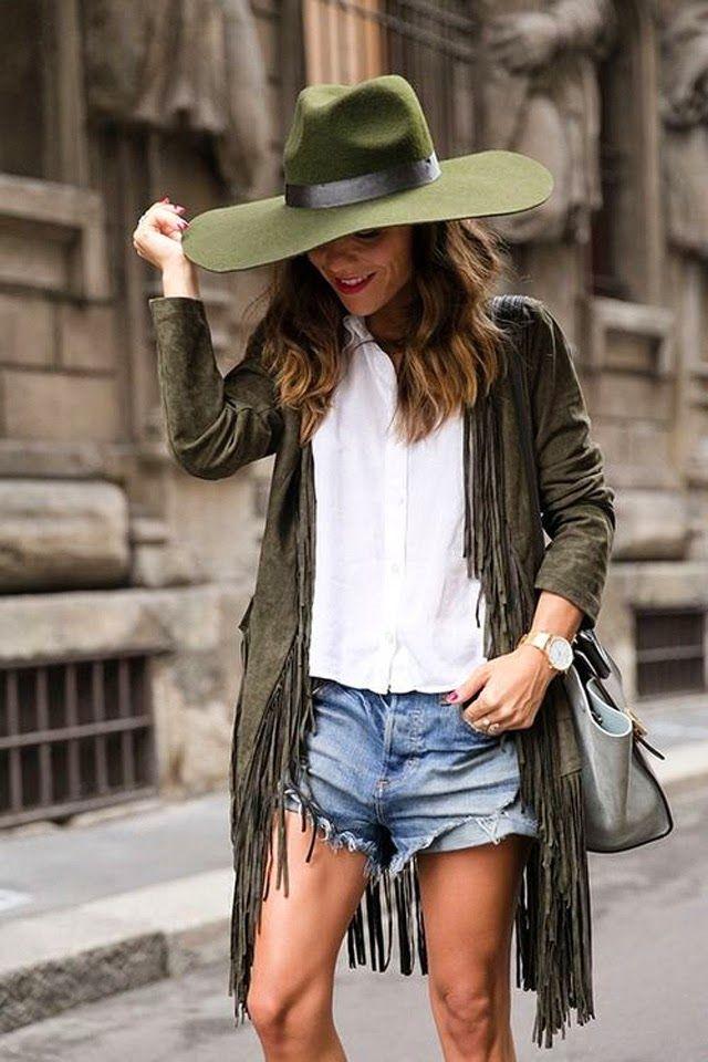 Olive Green fringe cardigan & wide brim hat