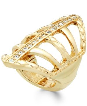 Thalia Sodi Pave Crystal Web Ring, Only at Macy's - Gold