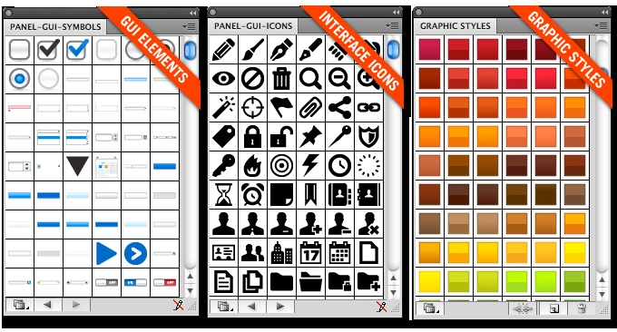 GUI library - Hundreds vector elements for interface design  Minimal UI icons set - 260 vector icons for Illustrator  Styles library - 200 styles to apply in Illustrator