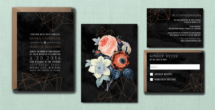 Modern Floral Geometric Rose Gold Wedding Suite // DOWN PAYMENT towards Printed Sets // Modern Wedding, Whimsical Wedding, Geometric Wedding by blacklabstudio on Etsy https://www.etsy.com/listing/260952368/modern-floral-geometric-rose-gold