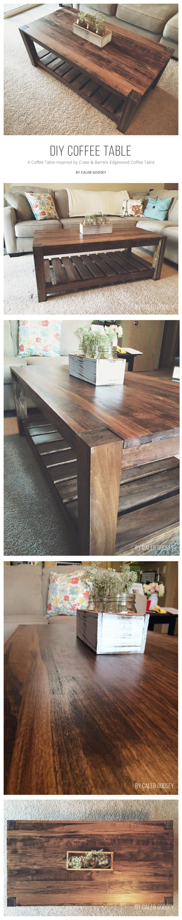 A beautiful aspen and pine diy coffee table inspired by Crate & Barrel's Edgewood Coffee Table.