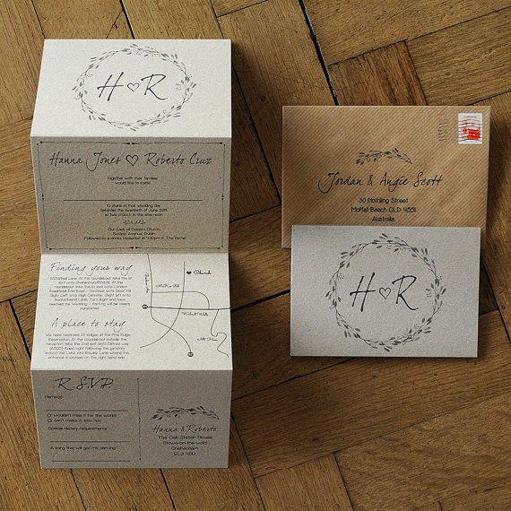 Woodland Story Rustic Wedding Invitation – concertina. Natural / Barn / Farm / Rustic wedding invites. Wedding invitation set with map
