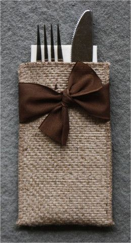 Hand-Tied Ribbon Burlap Silverware Pouch - Set of 8 - Cutlery Couture  (idea only)