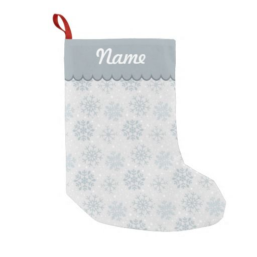 Personalized Silver Christmas Snowflake Pattern Stocking. Designed by Kristy Kate www.kristykate.com.