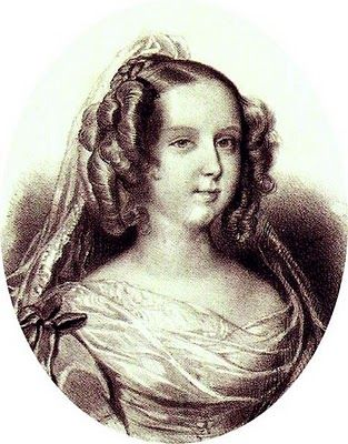 """Maria II, Queen of Portugal.  Dona Maria II (4 April 1819 – 15 November 1853) """"the Educator"""" (Portuguese: """"a Educadora"""") or """"the Good Mother"""" (Portuguese: """"a Boa Mãe""""), was Queen regnant of the Kingdom of Portugal and the Algarves from 1826 to 1828 and again from 1834 to 1853."""