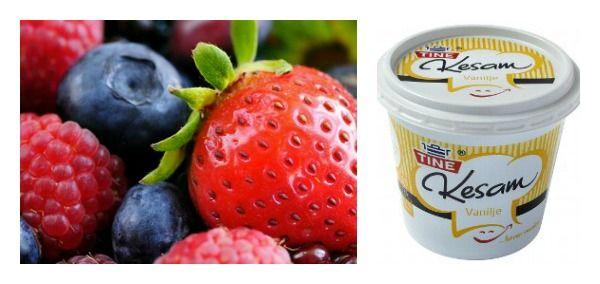 Vaniljekesam med fersk frukt eller bær. Super dessert!