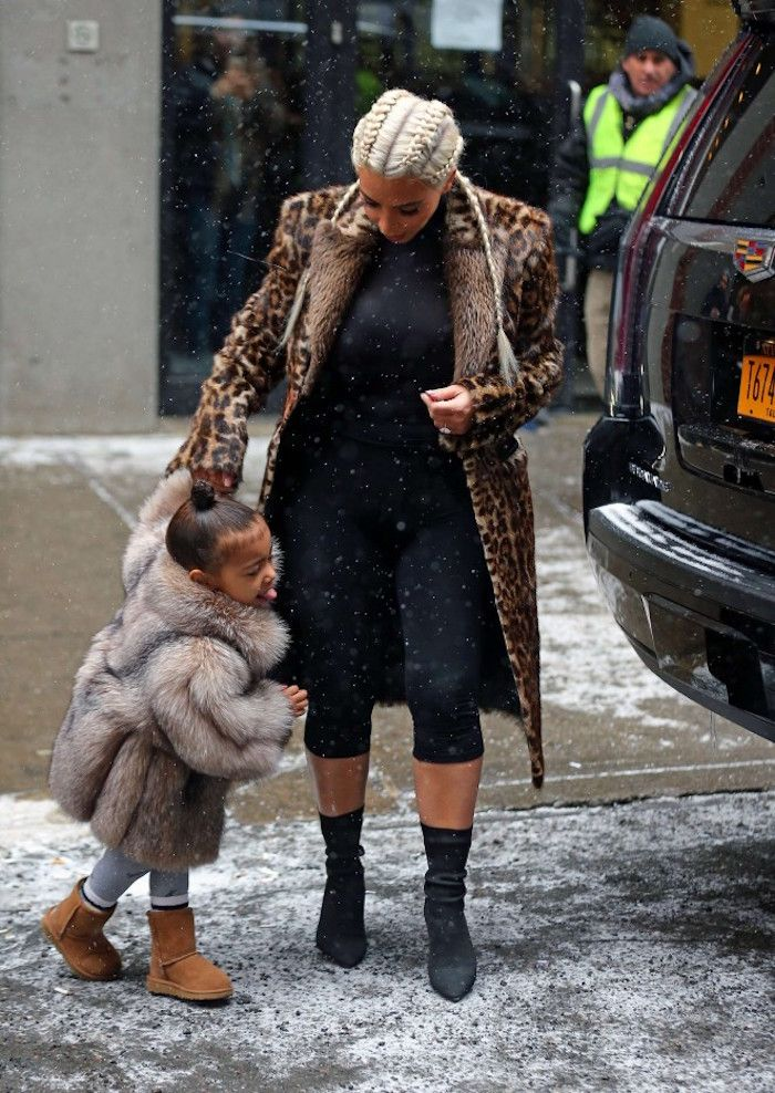Kim Kardashian and cutie North West were spotted in the snow while out in NYC. Adorbs.