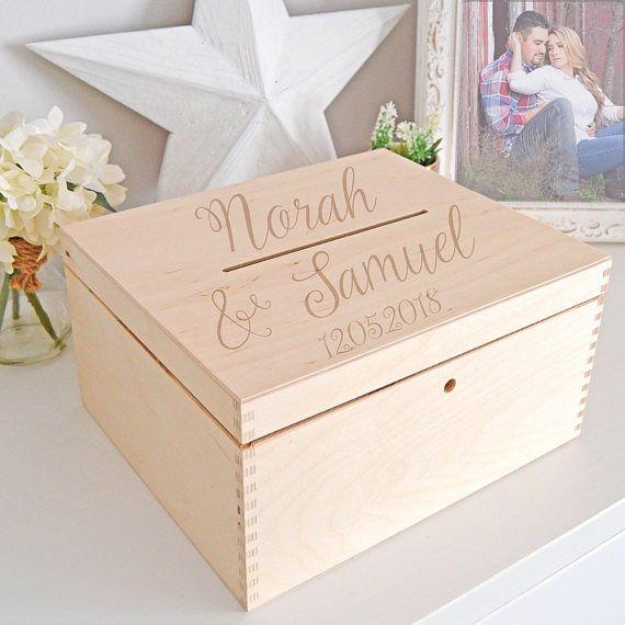 Wedding Card Holder - Wooden Wedding Card Box - Card Holder Box - Wedding Mailbox - Card Box With Lock - Wedding Reception Card Holder