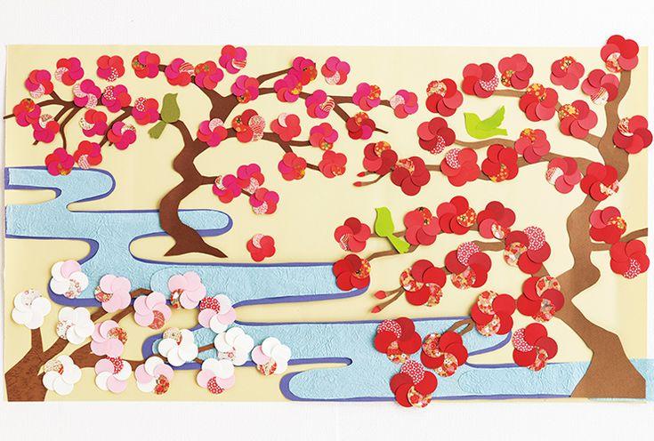 丸い色画用紙と千代紙を組み合わせて梅を作りましょう。ひと足早い春の到来が感じられる壁画です。