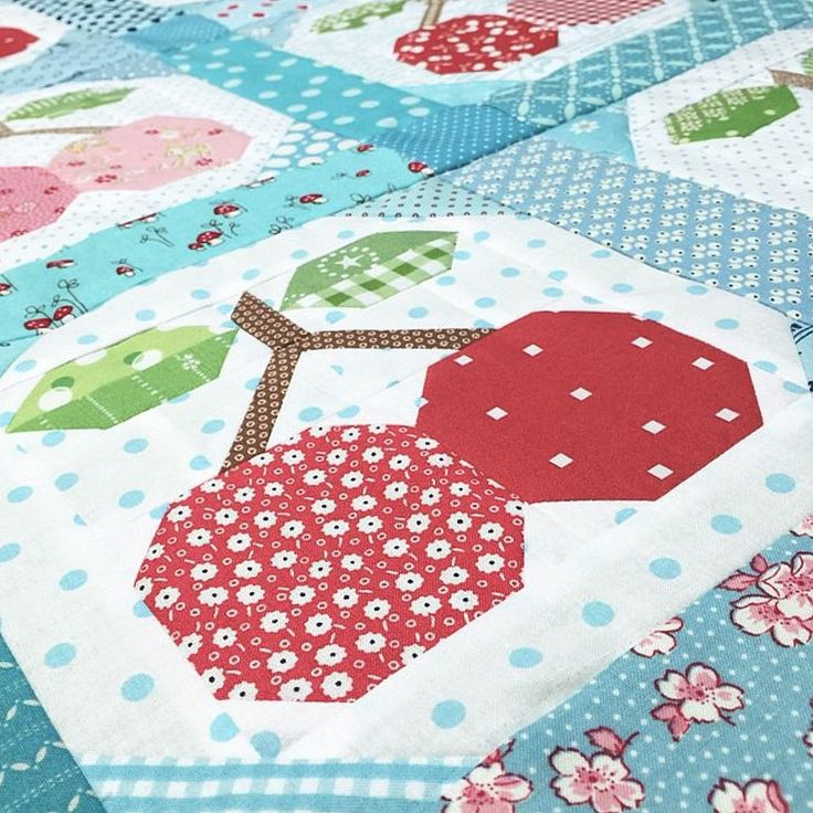 This is one of our blocks for our next #farmgirlfridays ...and one of my favorites too!  #beeinmybonnet #farmgirlvintage #piecherriesblock #PieCherriesQuilt