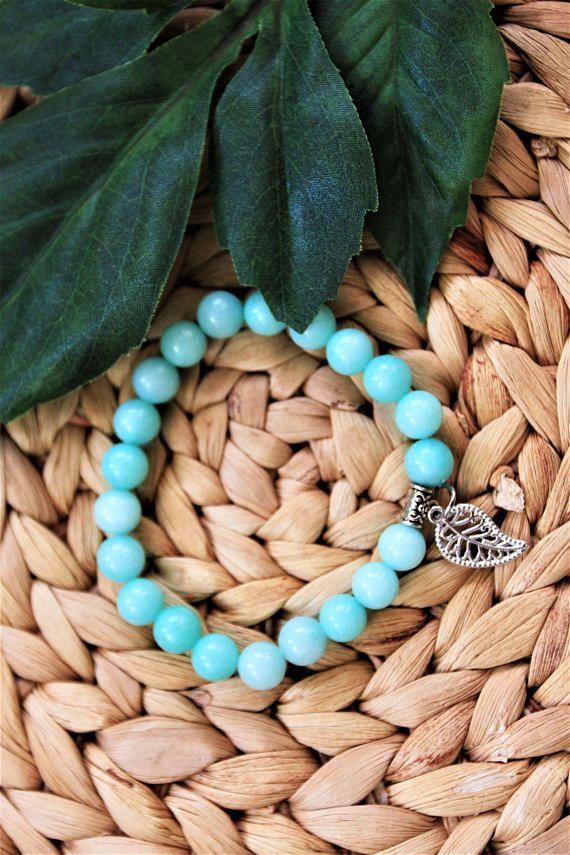 Turquoise Blue Beaded Bracelet  Womens Beaded Bracelet