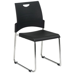 """Kinetic Stack Chair. Simple, elegant, durable and lightweight. Designed to stack quickly and easily, the sturdy chrome frame provides a solid base for the 18"""" x 18"""" black polypropylene seat and 19""""h x 12""""w back. Ergonomic in design, this chair offers superior lumbar support designed to combat fatigue. Four glides prevent unsightly floor marks. Space-efficient, it is perfect for small waiting rooms, banquet halls, conference rooms, and convention centers. $69"""