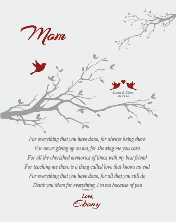 Wedding Thank You Gift for Mom from Daughter or Son