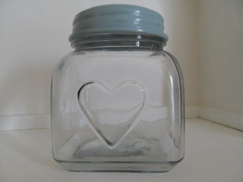 SHABBY GLASS STORAGE JAR WITH A HEART & DUCK EGG BLUE LID KITCHEN BATHROOM CHIC