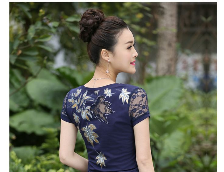 2016 Summer T shirt Women Lace Short Sleeve T Shirts Female Flower Printed Hollow Out Hot Drilling Tops Plus Size XXXL J6163-in T-Shirts from Women's Clothing & Accessories on Aliexpress.com | Alibaba Group