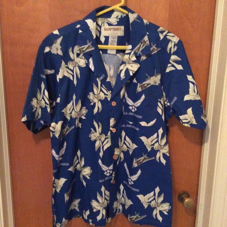 US Air Force Hawaiian Aloha Tropical Sz L Kamp Shirt USAF Jets Stealth Pilot #Kamp #Hawaiian