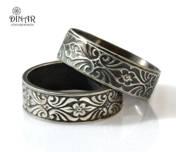 Sterling silver Wedding ring set, Oxidized silver band, wedding ring, his and hers ring, men's band, engraved floral pattern, Vintage Design