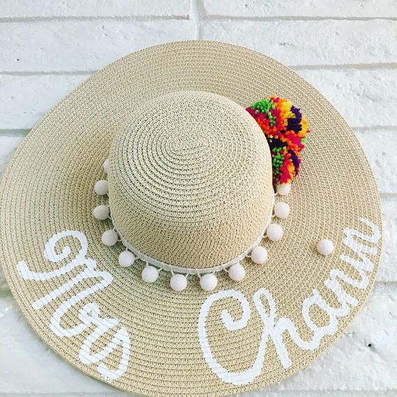 edc7c2fb Floppy beach hat, Summer beach hat , Bridal party, Floppy hat personalized ,Custom  hat ,Bachelorette
