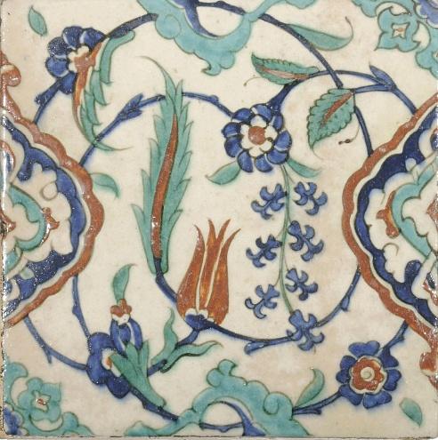 AN INTACT IZNIK POTTERY TILE   OTTOMAN TURKEY, CIRCA 1600