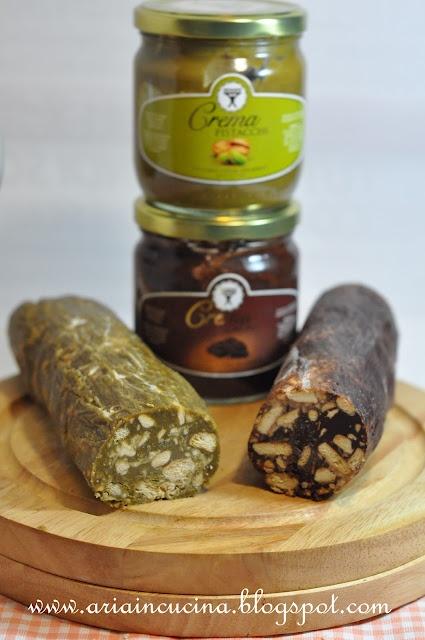 Il dolce salame moderno al pistacchio e caffè senza burro nè uova