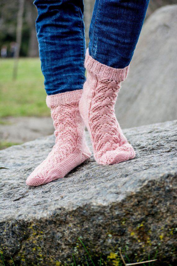 a338c12cc6e35 Hand knit warm winter wool socks Slipper socks Boot cute socks Cozy ...