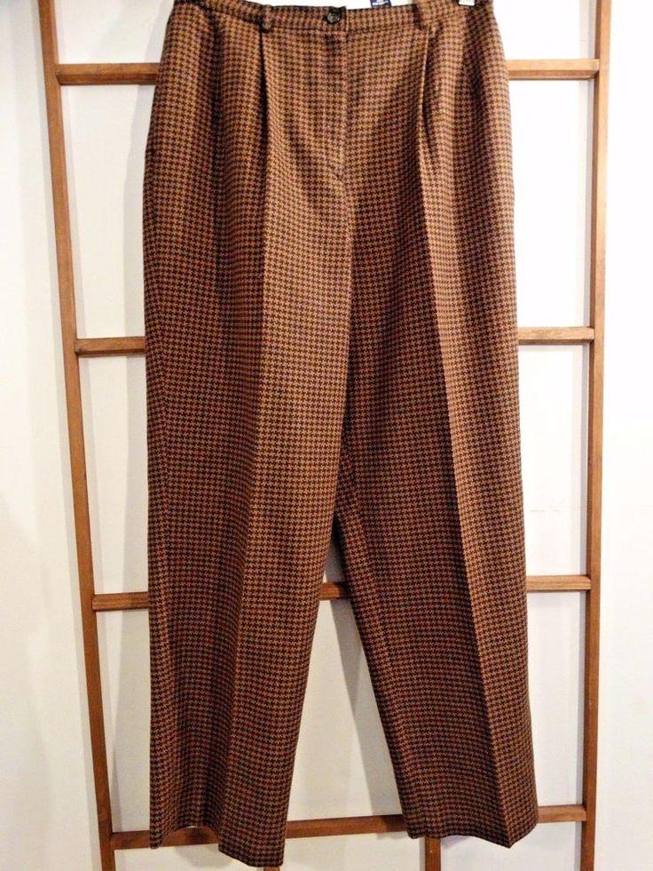 Vintage Preston & York Women's 12 Petite Pants Houndstooth Black Brown Wool   #PrestonYork #DressPants #Winter