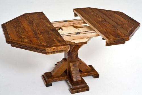 Barnwood Table Octagon Expandable Open.  LOVE octagon tables
