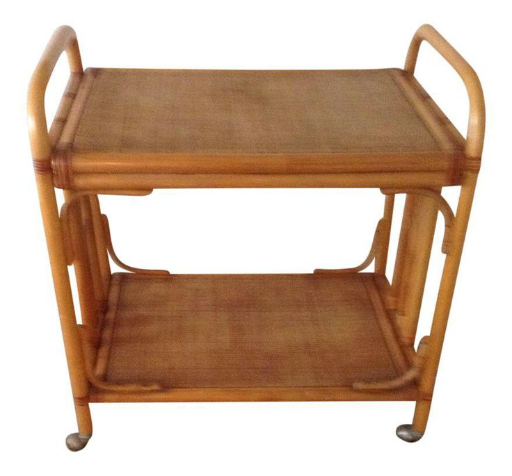 50's Vintage Rattan Bar Cart on Chairish.com