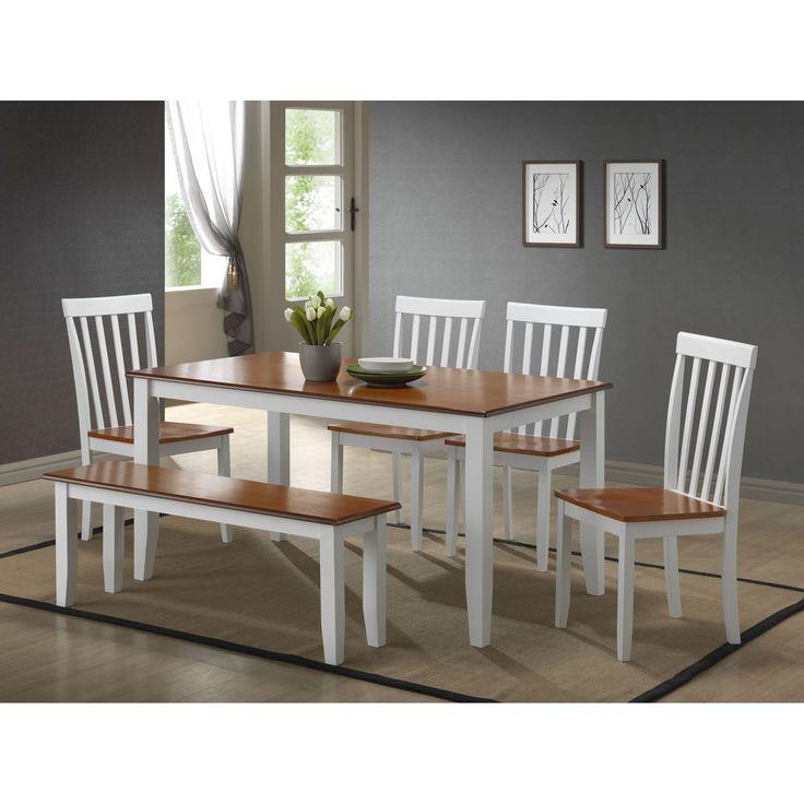 Boraam Bloomington 6 Piece Dining Set with Bench - White & Honey Oak - BOR250
