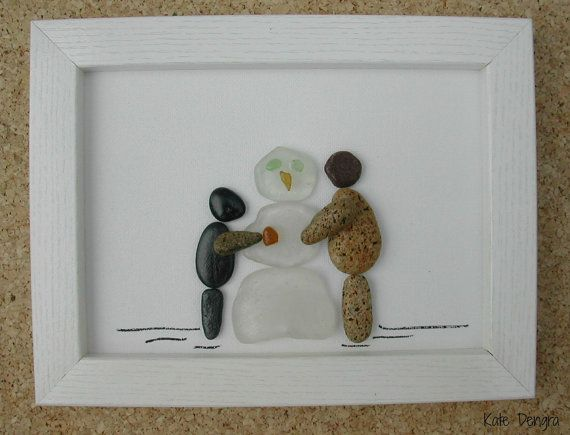 Pebble Driftwood Sea Glass Stone Pottery Art Painting Picture Made With Beach Finds BUILDING SNOWMAN Winter Christmas Scene