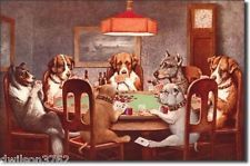Dogs Playing POKER Card Game Room Man Cave Garage Bar Funny Picture Tin Sign