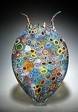 "Mezclado Murrini Foglio por David Patchen (arte de cristal del recipiente) (23 ""x 14"")"