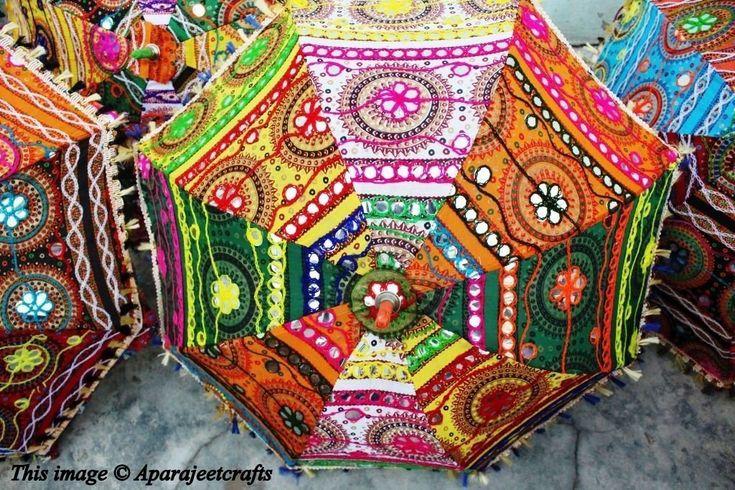 7 Pcs Lot Indian Wedding Umbrella Decoration Mirror Work Vintage Parasols Handmade embroidery Elephant Umbrella Decorations Cotton Umbrellas