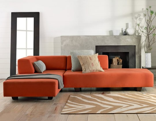 Best 25 orange sofa ideas on pinterest orange sofa for Burnt orange chaise lounge