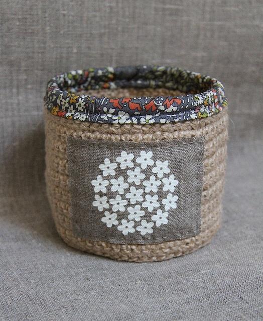 Hessian basket by Katia Donohoe, via Flickr