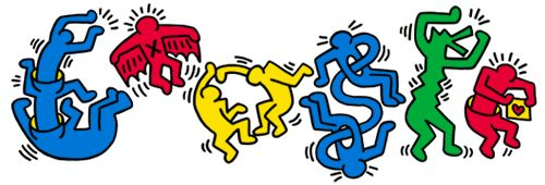 Google Doodle from May 4, 2012 inspired by the work of Keith Haring. Recognize the style? Click through to learn more and see a really fun video clip from the '80s of Haring's characters dancing on Sesame Street.