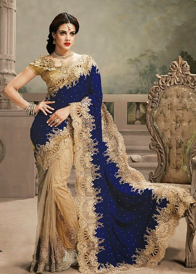 Golden with Blue Heavy Embroidered Partywear Designer Saree with blouse
