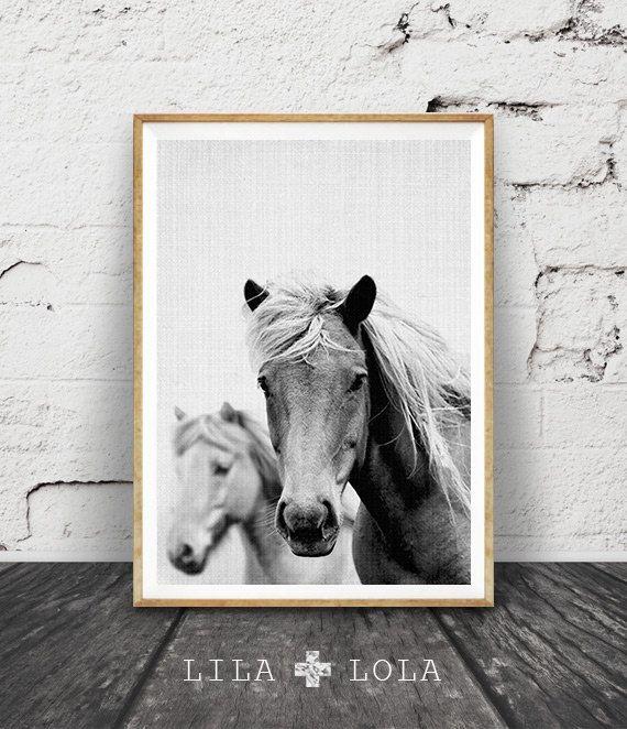 Horse Photo, Horse Print, Black and White Photography, Wall Art, Icelandic Horse, Equestrian Art, Modern Minimal Photo, Printable Art