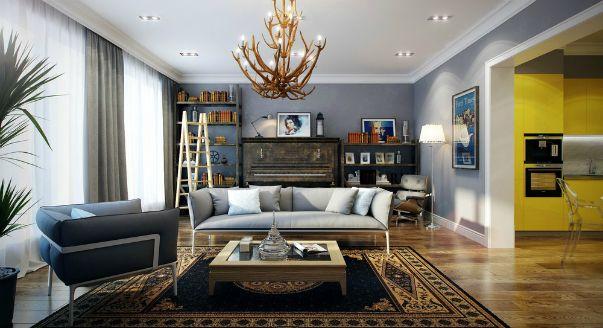 Дизайн проект спальни-гостиной решен в элегантных серых тонах, с которыми соседствует неожиданный желтый. Проект Павла Ветрова.
