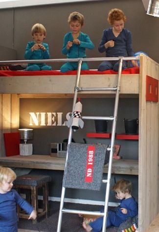 Hoogslaper steigerhout voor de #kinderkamer | Wooden high sleeper for the #kidsroom